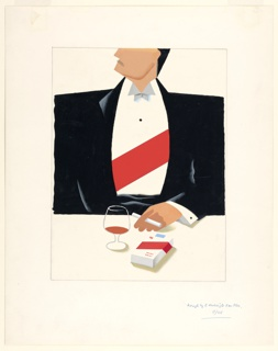 Study for an advertisement for Diplomat Cigarettes. At center, a figure at a table wearing a black tuxedo and a white shirt with a red sash across their chest. The top of the figure's head is cut off, but a curly, black moustache is depicted on the figure's upper lip. The figure holds a cigarette in their left hand. On the table, a brandy snifter and a pack of cigarettes decorated with a similar red stripe on the packaging.