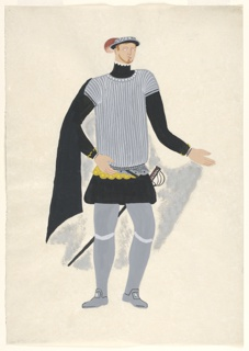 """Costume design for a male character for John Gielgud's """"Queen of Scots"""". Standing figure facing frontally wearing a gray and white striped shirt, black undershirt with long sleeves, black pantaloons, black cape, and gray hose, and carrying a sword."""