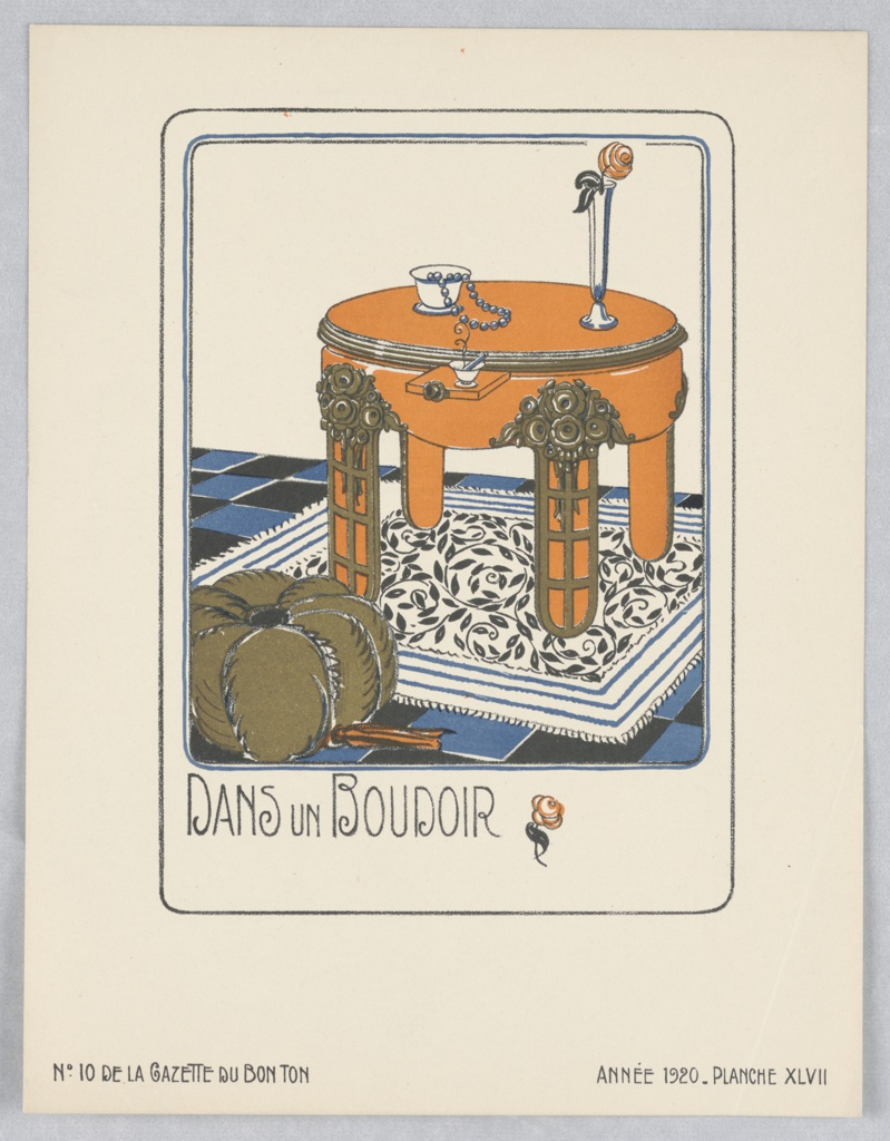 Design for a boudoir interior, lacquer table with gold motifs in relief placed on small rug with curving leaf pattern on tiled floor. Small pouf in foreground. Teacup with necklace and flower in vase on tabletop. Ruled borders with curved edges in blue and black.
