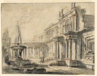Recto:  Horizontal rectangle. A palace courtyard, bounded by a two-storied building at the rght and an open colonnade in the background. At the left is a fountain showing a basin held aloft by standing figures. Ruined masonry in the left foreground. A tomb at the extreme right. Figures introduced into the scene.   Verso:  Rough sketch of a building or street scene. Undecipherable notes (in pencil) in French, below.