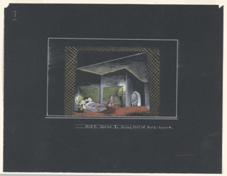 """Drawing, Stage Design: Act III, Scene 1, for """"Queen of Scots"""""""