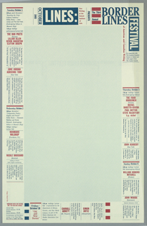Poster/ announcement printed in red and blue, for Detroit Institute of the Arts reading, lecture, and discussion series, designed to be mailed.  Text in a variety of sizes, styles thorughout.    Recto: Across upper edge, upper right corner, text giving event title, sponsors, and additional information.  Center, pale blue.  Blue and red text arranged along edges surrounding center, giving dates, descriptions, times, locations, and additional information. Verso: Upper two thirds of sheet, blue text giving names of participating writers form rectangle punctuated by dates jutting into center.  Across lower third of sheet, blue text giving mailing information.