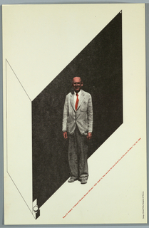 Poster in black and red ink on cream cardstock.  In center is an image of Robert Goddard (inventor of first high altitute rocket) in light gray jacket, dark gray pants.  His skin and tie are red.  He stands in front of a geometrical form resembling a partial rectangular box, formed by a black parallelogram receding right and a white parallelogram receding left.  At the top right corner of the black parallelogram is a white circle and crescent, which are repeated in an open box at the bottom left corner of the parallelogram.  Title and additional text imprinted diagonally in red paralleling the receding black parallelogram.