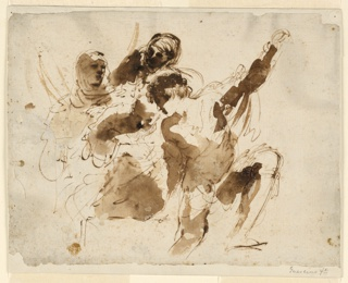 Drawing, Study of Four Figures, for the Burial of St. Petronilla Altarpiece at St. Peter's, ca. 1623