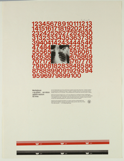 Cream colored ground; upper center, text block of numbers (1-100) imprinted in red ink; x-ray of person's chest in black and white superimposed on numbers.  Across lower center, four text blocks describe x-ray machine; lower right of text, Westinghouse logo.