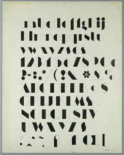 Design for the Manhattan typeface, consisting of black letters that combine very thick and very thin strokes. From top to bottom: three rows of lower case letters, one row of numbers, one row of symbols, four rows of upper case letters, and one row of symbols and ligatures.