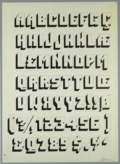 Design for the Bolt Bold typeface, consisting of white block letters outlined thickly in black with a shadow effect to convey a sense of three-dimensionality. From top to bottom: four rows of upper case letters, a fifth row consisting of upper case letters and a few symbols, and two rows consisting of symbols and numbers.