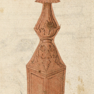 Vertical rectangle. Cut along the outlines of the drawing. Supported by a blossom and two lion feet. The lower part has the shape of a pedestal, shown from one corner, the plan being above angular, below circular. Rising rinceaux are in the panels, in those visible. The shaft is of vegetable forms, intermixed with metal ones. On top is a shell rising from leaves.