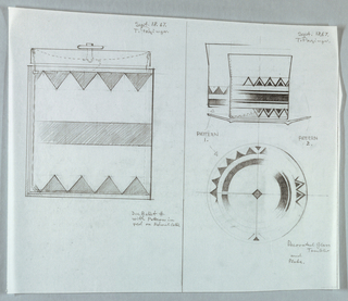 Left, design for ice bucket and lid decorated with bands of a triangular pattern. Right, design for glass tumbler and plate with bands of triangular pattern.