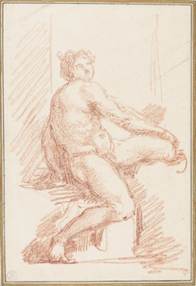 Ignudo (nude figure) from the ceiling of the Sistine Chapel, painted by Michelangelo. Part of the Sacrifice of Noah group, located between the Sacfirice scene and The Great Flood.