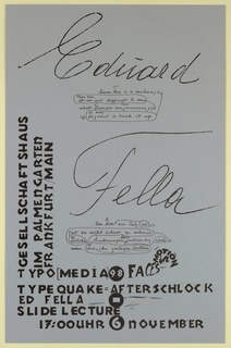 Poster Announcement, Edward Fella - Typequake...Frankfurt/Main, 1998