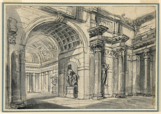 Design for a forecourt with a colonnade along one side, and along another an arched opening into a hall surrounded by a colonnade. Niche with sculpture in forecourt, another in arched opening.
