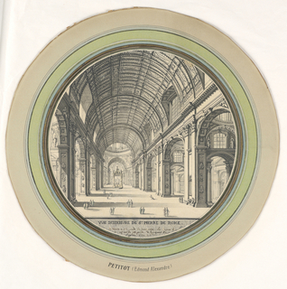Drawing, Interior View of the Nave, Saint Peter's, Rome, Looking Toward the Altar