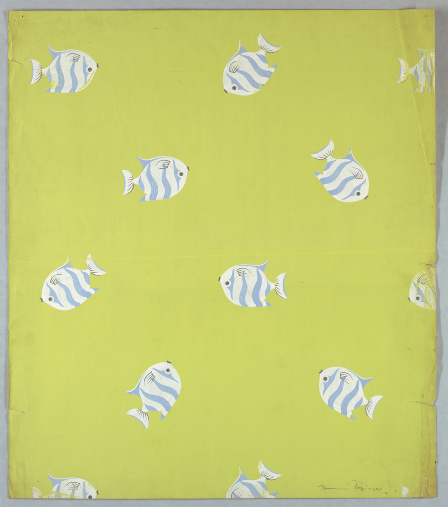 Pattern of scattered, striped fish in blue and white on chartreuse ground.