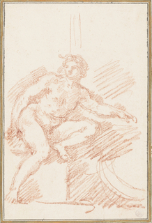 Ignudo (nude figure) between Creation of Adam and Creation of Eve on the ceiling of the Sistine Chapel, painted by Michelangelo. Proper left knee is bent, foot resting on his seat, and proper left arm is extended.