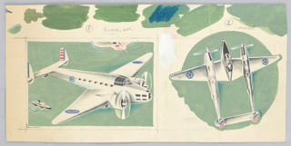 Two different airplane designs against a green ground.