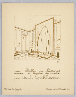 Vertical rectangle. Design for bathroom interior showing bathtub (pool) in white marble with sinks at either side in white marble and gold mosaic.