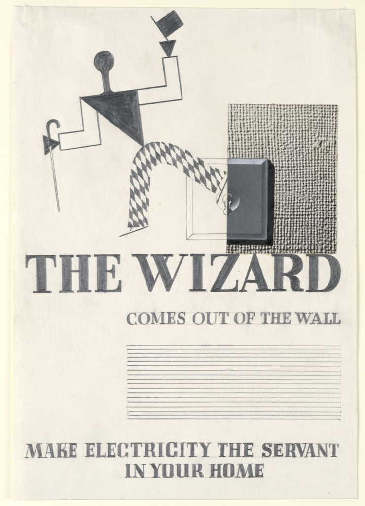"""Study for an advertisement in """"The Wizard from the Wall"""" series. Walking, abstract figure, dressed as a harlequin, with a cane in one hand and tipping a top hat with the other. At right, a light switch and textured wall (photograph of burlap) beside it. Below: THE WIZARD / COMES OUT OF THE WALL / [lines for copy blocked out] / MAKE ELECTRICITY THE SERVANT / IN YOUR HOME."""