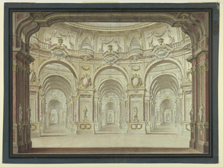 Drawing, Stage Design: Oval Hall and  Arcades, ca. 1774