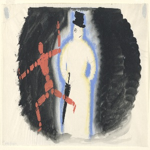 "Study for ""Official for Winter Double Shell Lubricating Oil"" poster. At center left, a running figure composed of red dots and dashes resembling an articulated, wooden mannequin. To the right, a snowman with a battered top hat and umbrella. Both figures set against a black ground."