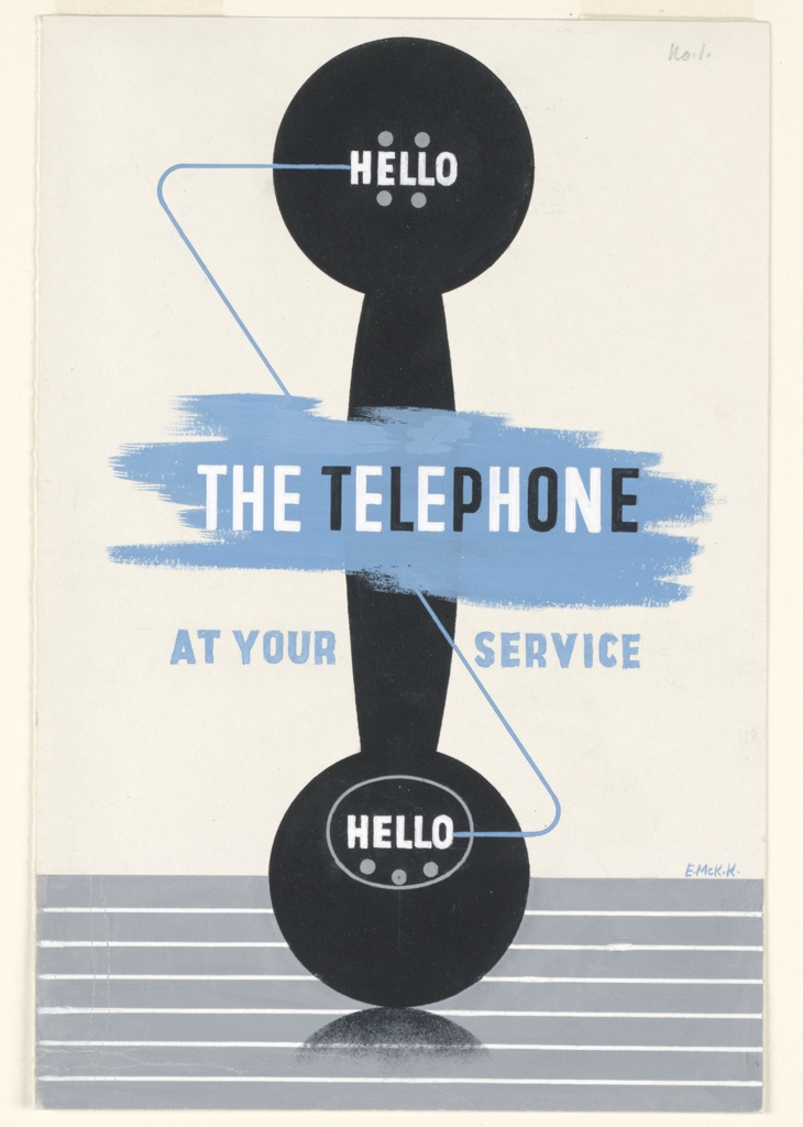 "Shape of a black telephone receiver facing forward, standing upright on a striped blue-gray ground. Text in white, at both ends of the receiver: ""HELLO""; Superimposed overfblue brushtrokes in white and black text, center: THE TELEPHONE; below, on either side of the telephone receiver, in blue text: AT YOUR / SERVICE."