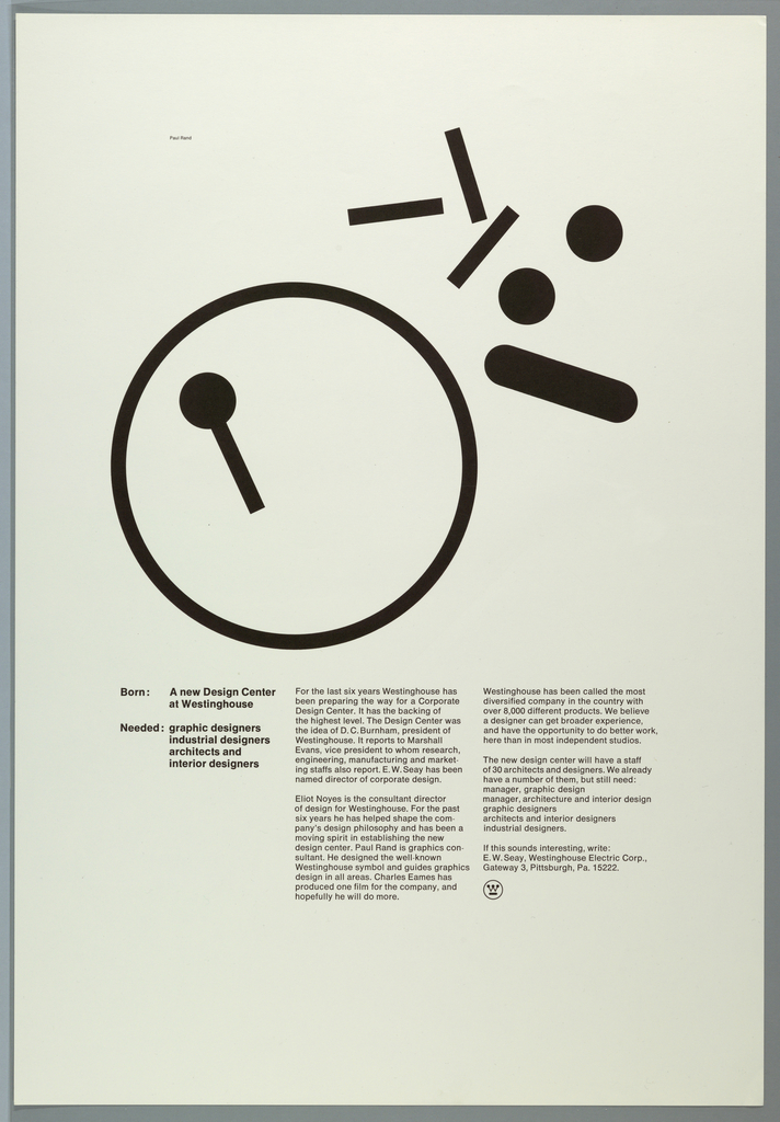 Imprinted in black ink, upper half of page, broken Westinghouse logo (circle with one part of W in it, center-left, and separated pieces of logo, outside, upper right quadrant).  Three columns of text, lower half of page describing the new design center and that employees are wanted. Under last column of text, lower right quadrant, small Westinghouse logo.