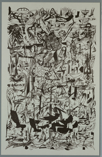 Poster greeting printed in black. Recto: Across sheet, abstract [printed] sketch with images of figures, chairs, flowers, banners, house, suggesting party scene.     Verso: Upper third of sheet, center, image of wheel with spokes and center overlapping (stylized star).  Center, rectangle with abstract tree and candles.  Lower third of sheet, center, imprinted signature and greeting over abstract line design.