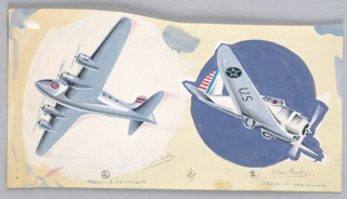 """Gray-blue airplane with four engines on white ground. At left, single-engine airplane, """"U.S"""" on wing, on blue ground."""