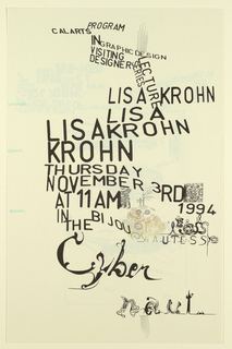Poster Announcement, Cal Arts Program in Graphic Design Announcement: ...Lisa Krohn, November 3, 1994, 1994