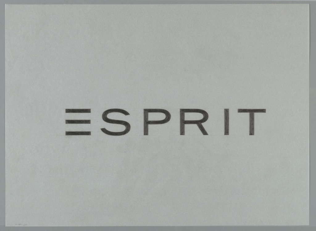 Logo design for Esprit featuring only the word in black capital letters, with the stem of the E removed.