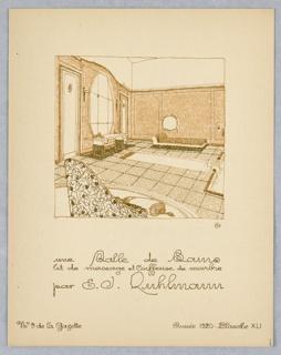 Print, Plate 41, Une Salle de Bains, lit de massage et coiffeuse de marbre (A Bathroom, massage bed, and marble dressing table), Gazette du Bon Ton (Journal of Good Tastes), Vol. 2, No. 9