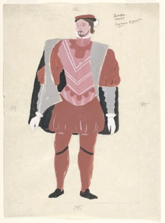 """Costume design for Arran for John Gielgud's """"Queen of Scots"""". Standing figure facing frontally wearing a pink vest over a red shirt, a short black cloak trimmed with gray fur, red pantaloons, and tights."""