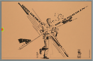 Traditional illustration of a college age young man in a suit carrying a variety of carpentry tools. Text in a variety of sizes, styles, crosses at center and extends to four corners. (pun on windmills)  To the left and right of the main figure are smaller figures of a male painter and a woman in traditional Dutch costume.