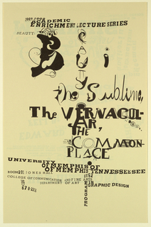 Poster Announcement, Ed Fella... The Sublime, the Vernacular, The Commonplace/University of Memphis, November 6, 1990