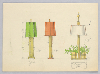 Designs for three table lamps, from left to right: fluted brass (?) lamp with green shade; fluted brass (?) lamp with coral shade; fluted brass (?) lamp with small brass plant holders flanking pole.