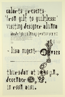 Poster Announcement, Cal Arts Program in Graphic Design Announcement: ...Reverb - Lisa Nugent, December 16, 1999, 1999