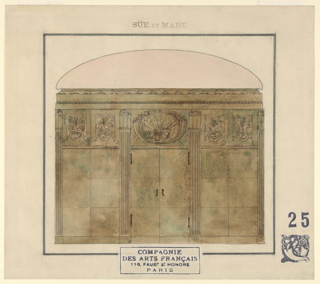 A three-part wall elevation of a wood-paneled room with a shallow, domed-ceiling. The central section is formed by a double door decorated with scroll-shaped knobs and a pair of narrow hinges bordered by fluted pilasters. Two half-pilasters mark the ends of the wall, right and left. Stylized vases with flowers form the capitals of each pilaster. The three wall sections are divided horizontally in two parts. Going vertically from the bottom, above a wood molding the wall is composed of three square wood panels. Above these is a frieze made of carved wood decorations. A military escutcheon composed of flags tied with a ribbon between two stylized cornucopias with flowers fills the area above the central doors. Two garlands with draperies fill each of the side sections. Above the frieze is a four-part cornice; the lower two sections are divided by a narrow bead motif; the upper-most section is filled with a scalloped ribbon motif. Above the cornice, a shallow half-ellipse indicates the domed ceiling in section.