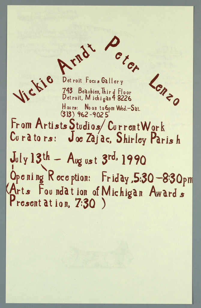 Announcement, Vicki Arndt Peter Lenzo From Artists Studios/ CurrentWork