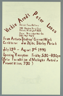 Poster announcement for exhibition at Detroit Focus Gallery, designed to be mailed.  Printed in maroon ink.   Recto: [Printed] handwritten text in a variety of sizes, giving names of participating artists, locations, curator, dates, and additional information.   Text forms a triangle over a square, resembling a house.   Verso: Upper edge, center, image of a log.  Across lower sheet, sponsors and mailing information.