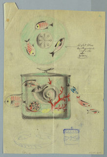 Round-lidded box decorated with motifs from the sea: snails, coral, fish. At center of lid is a sand-dollar surrounded by three fish. Below, there are sketches of lid and box in blue gouache.
