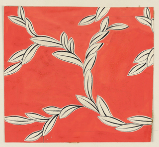 On orange background, a swirling leaf pattern in white outlined in black.