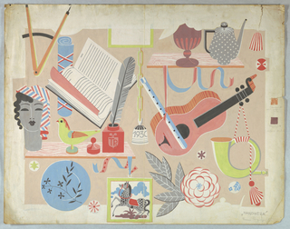 All motifs relating to handwork.  From upper left: compass, open book, footed bowl, tea pot; middle left: quill pen and ink, pot with initials TP on front (presumably for Tommi Parzinger), bell on chain dated 1930, recorder and guitar, horn with tassel; lower left: plate decorated with leaf design, stylized horse painting and a large flower with leaves; right margin: orange and mauve samples with inscription (graphite) of how colors are mixed.