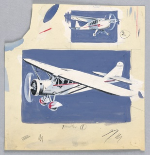 Airplane design, two views, both on blue ground.
