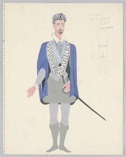 """Drawing, Costume Design: Chatellard, for """"Queen of Scots"""""""