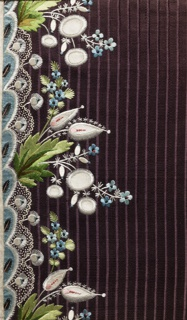 Multicolored silk embroidery and appliquéd satin in a floral design on a purple striped ground.