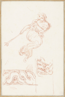 Angel sounding a trumpet, based on figure from The Last Judgment by Michelangelo. Accompanied by sketches of border patterns.