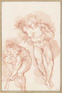 Two figures from The Last Judgment by Michelangelo.