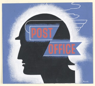 Study for a British General Post Office advertisement. In black, a silhouette in profile facing left of the mythological god Mercury in his winged hat. A white frame surrounds the head, setting it off from a blue background. On two blue ribbon-shaped rectangles superimposed over head, text in red, center: POST / OFFICE.