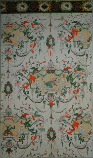 Vertical rectangle. Drop-repeating design of cartouches with yellow field enclosing, alternately, figure of a woman on a swing and figure of a man with a pole-axe. Cartouche enclosed with scrolls and surrounded by festoons of beading and drapery. Border has scrolled medallions outlined in green and yellow, against red flock field.