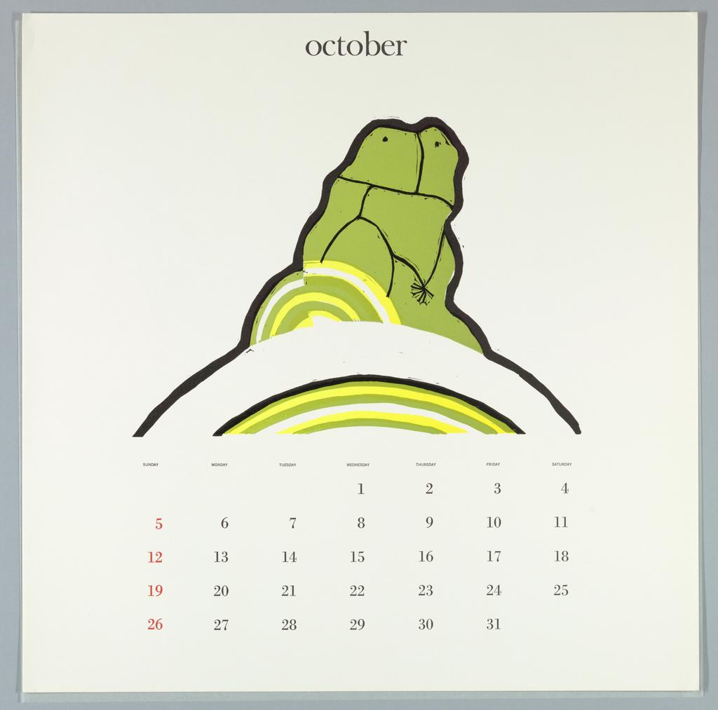 Calendar, Keepsake No. 14, October, 1969